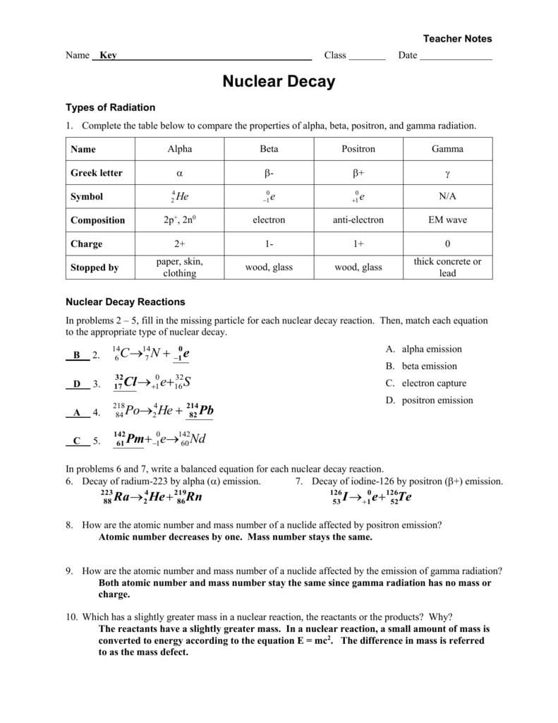 Nuclear Decay Worksheet Answers Chemistry — Dbexcel