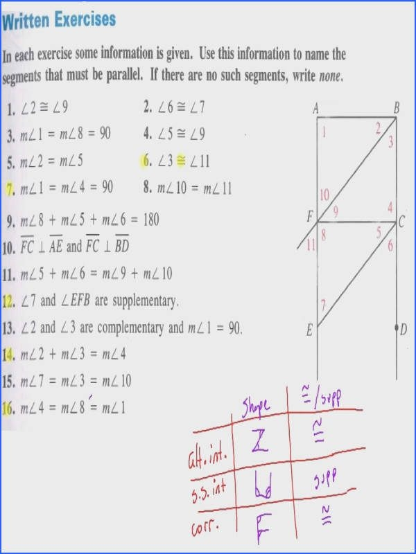 Parallel Lines And Transversals Worksheet Answer Key