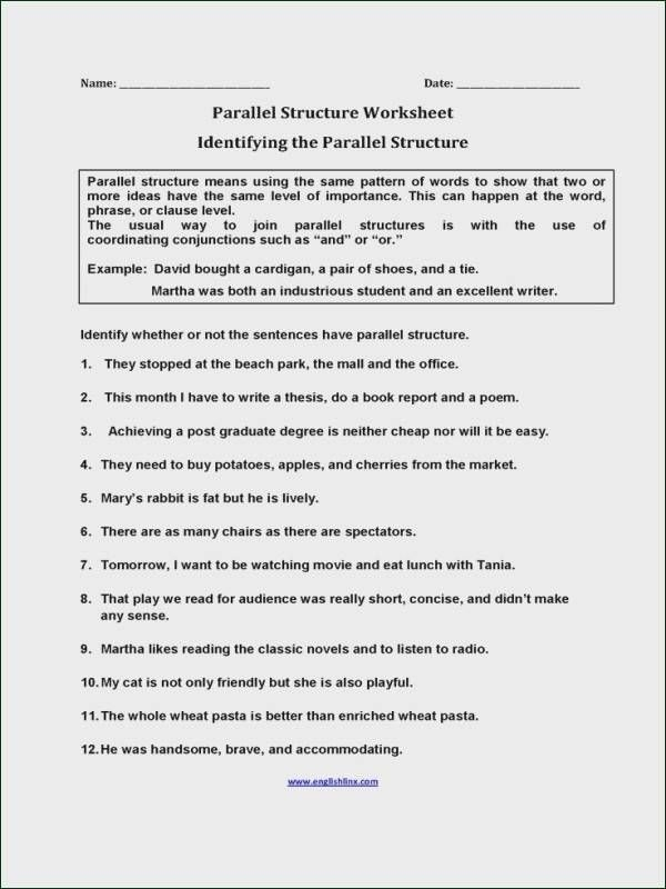 Parallel Structure Worksheet Answer Key  Riz Books