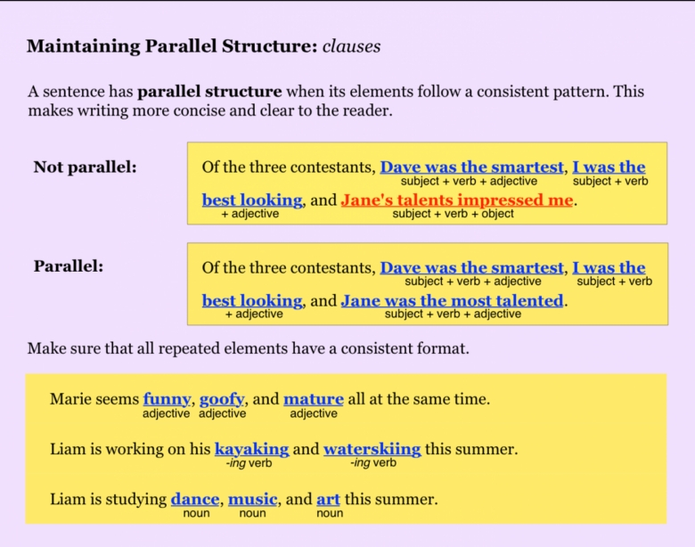 Parallel Structure Worksheet Identifying The Correct