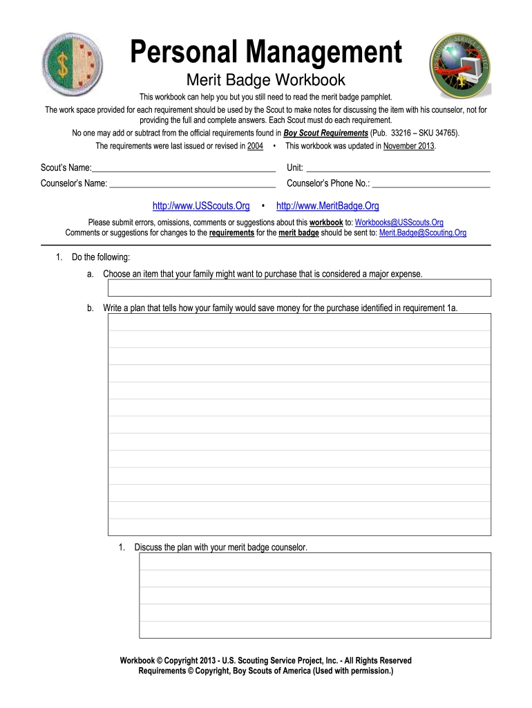 Personal Management Workbook  Fill Online Printable