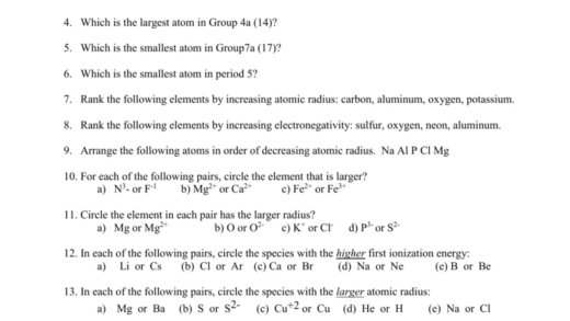 Pics Trends Of The Periodic Table Worksheet Part