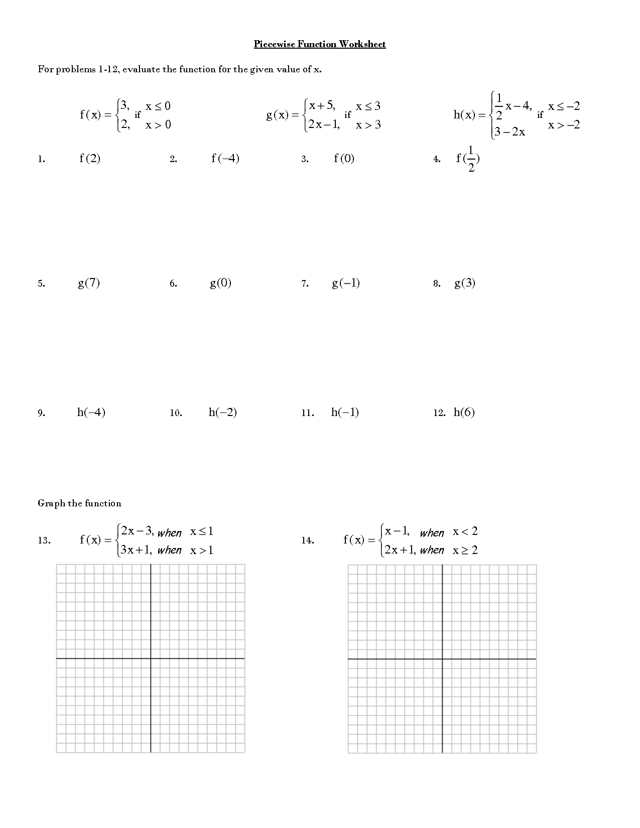 Piecewise Functions Word Problems Worksheet With Answers