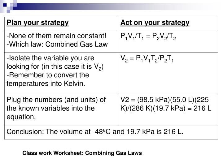 Ppt  Combined Gas Laws And Dalton'S Law Of Partial