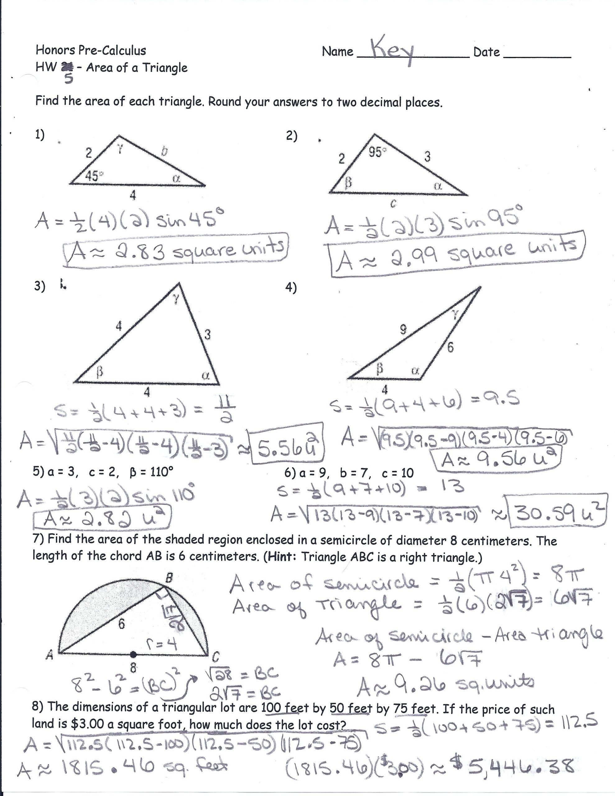 Pythagorean Theorem Puzzle Worksheet Area A Triangle Using