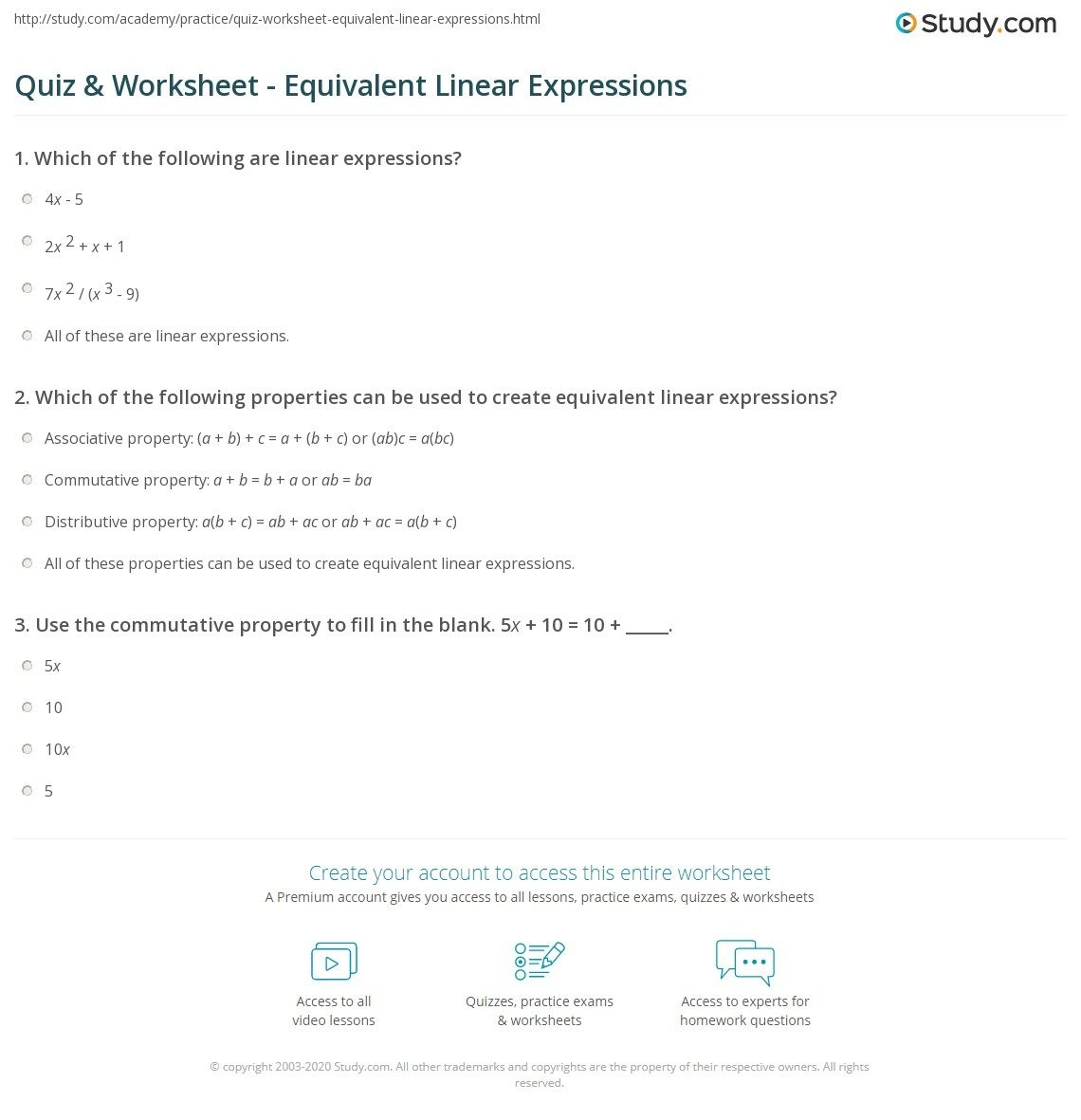 Quiz  Worksheet  Equivalent Linear Expressions  Study