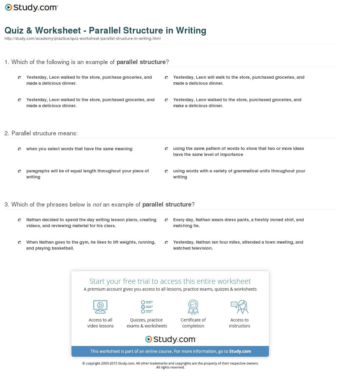 Quiz Worksheet Parallel Structure In Writing Study — Db