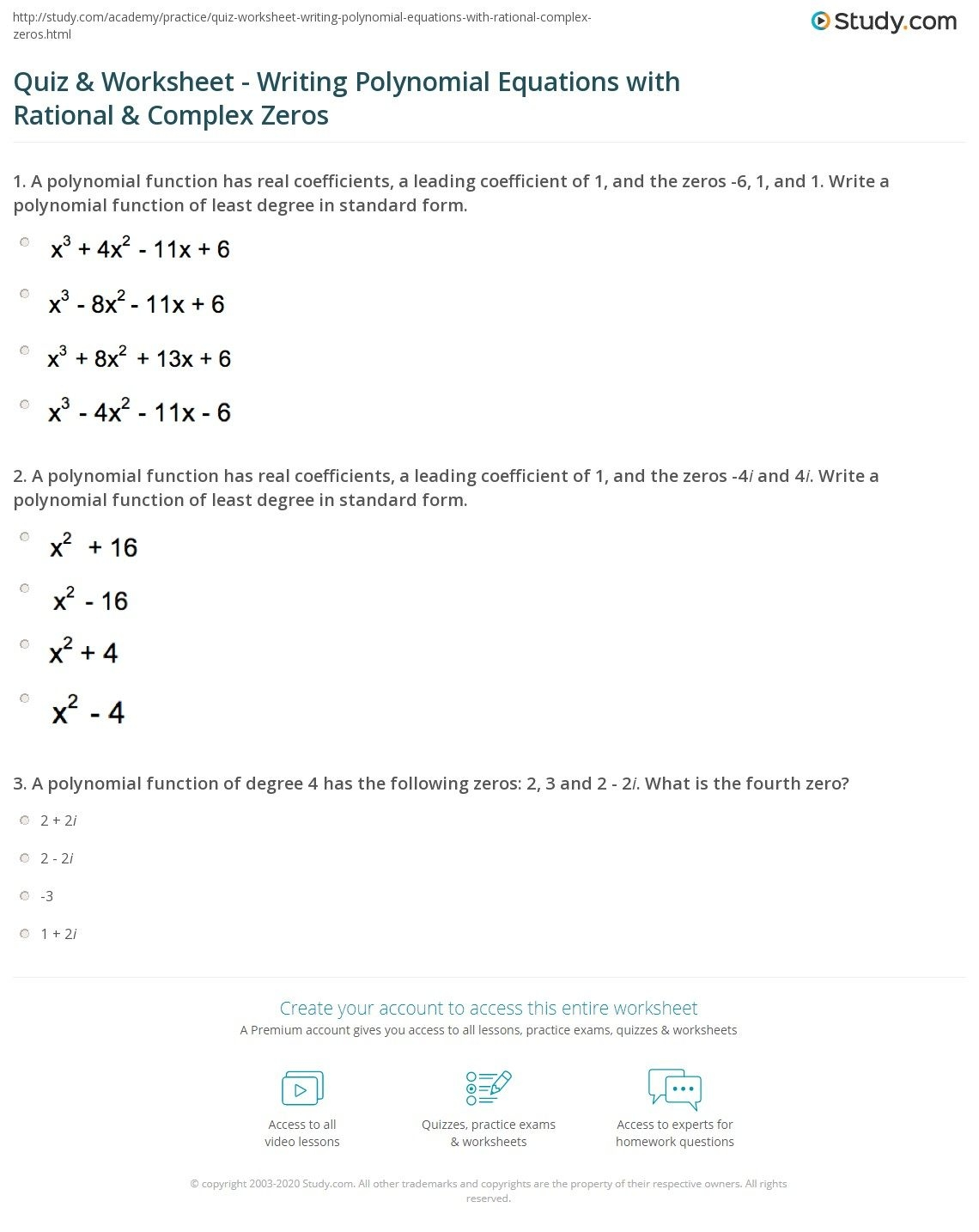 Quiz  Worksheet  Writing Polynomial Equations With