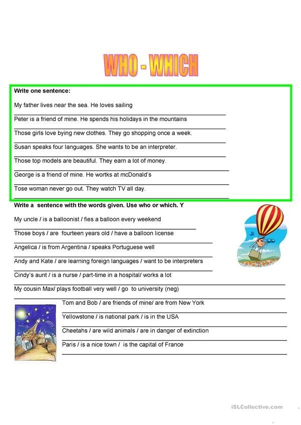 Relative Pronouns  Who Which Worksheet  Free Esl