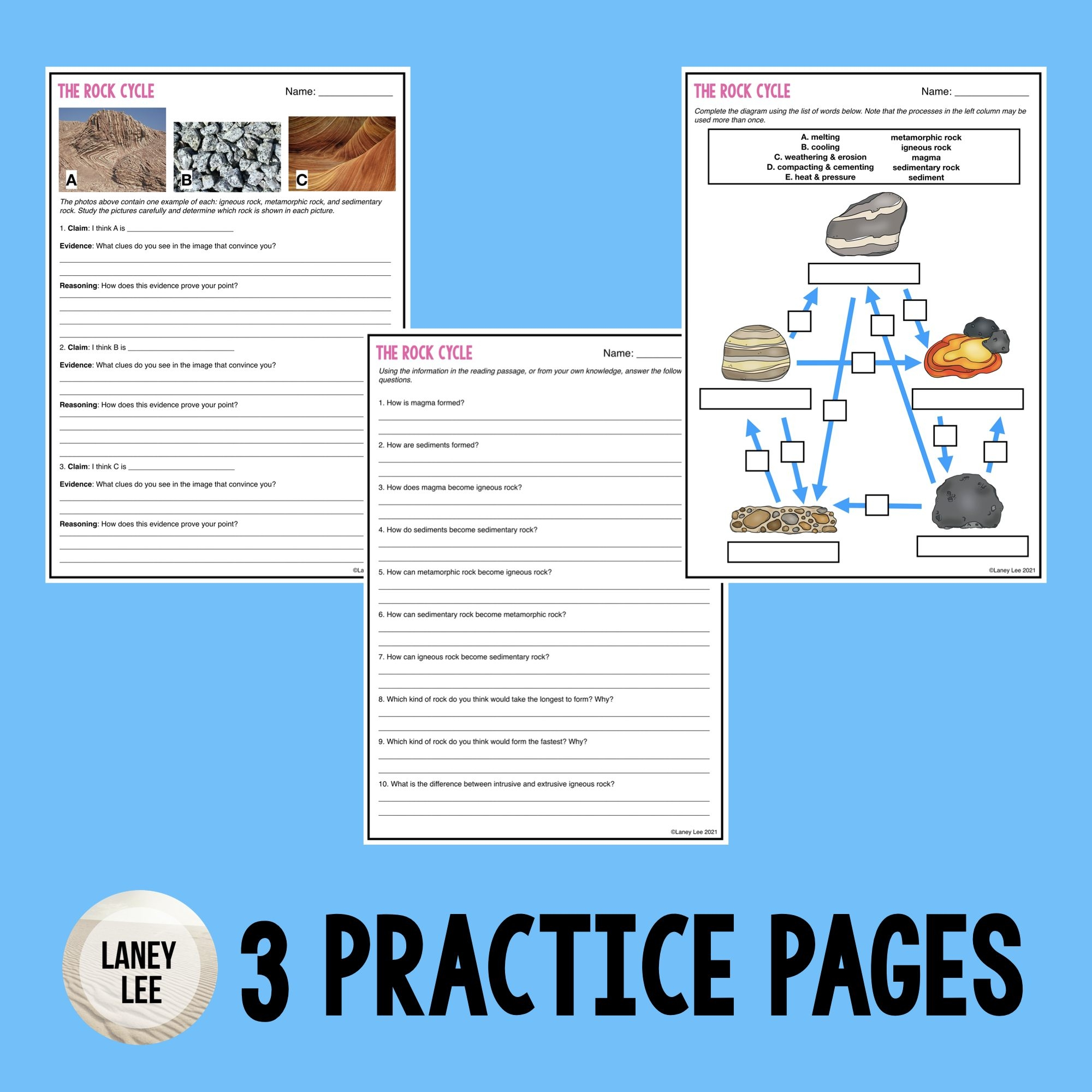 Rock Cycle Guided Reading  Pdf  Digital Worksheets