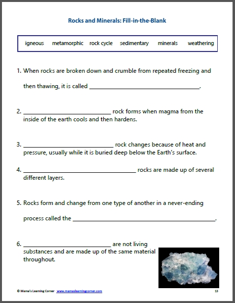 Rocks And Minerals Unit Study Resource Packet  Mamas