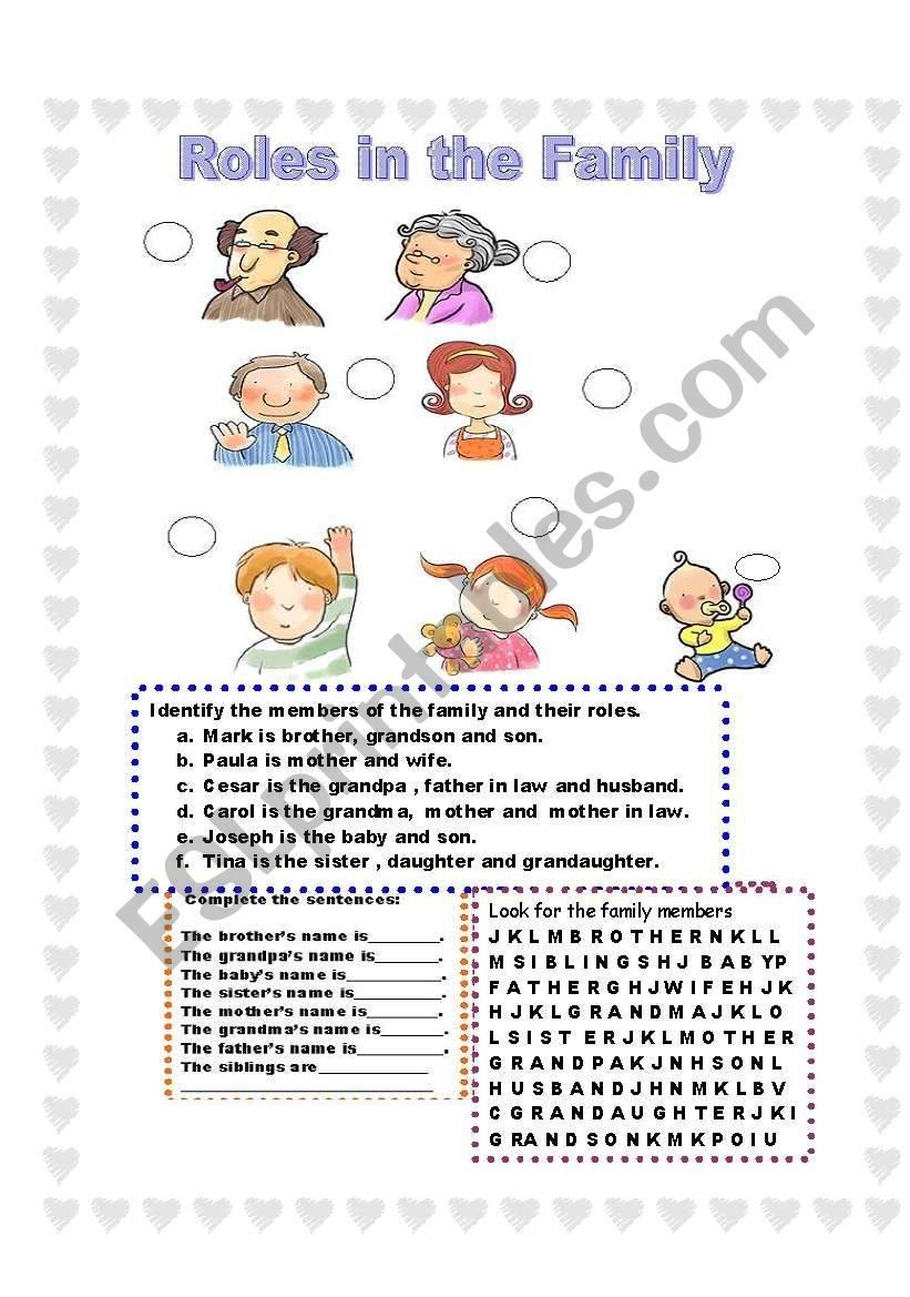 Roles In The Family Match And Complete  Esl Worksheet