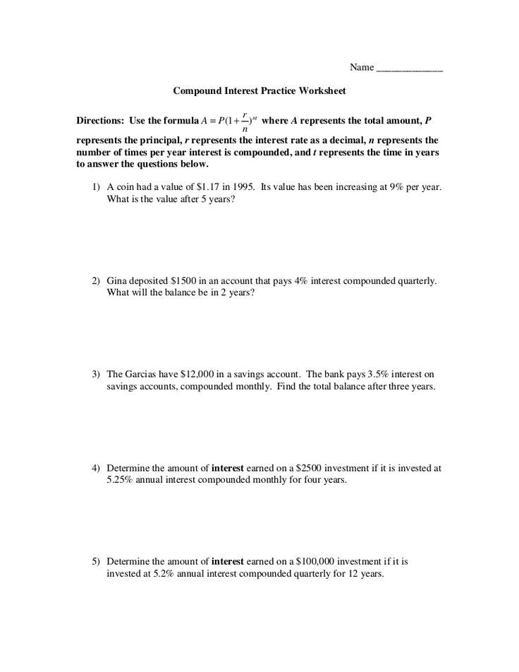 Savings Accounts  Worksheets Compound Interest Answers