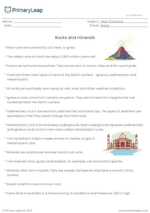 Science Rocks And Minerals Fact Sheet  Worksheet