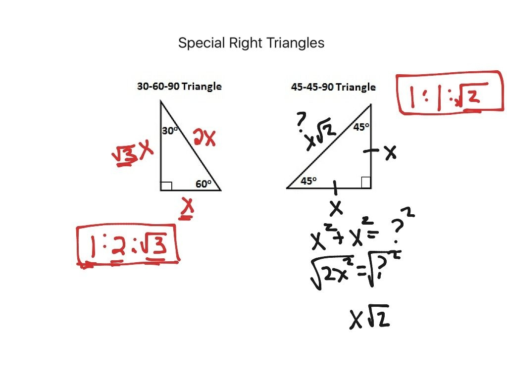 Showme  Geometry  Special Right Triangles Worksheet