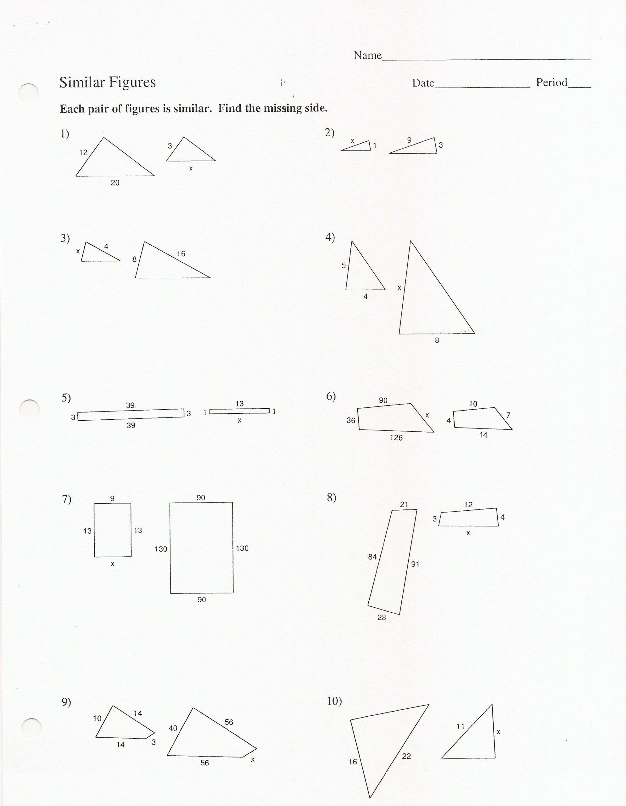Similar Figures And Proportions Worksheets  Free