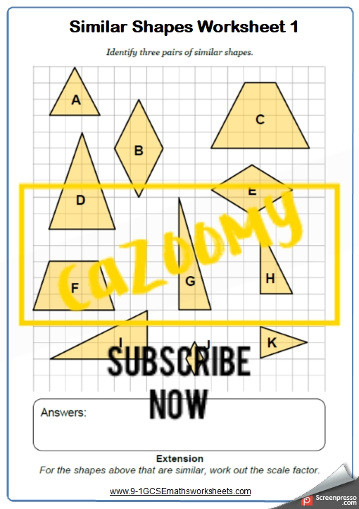Similar Shapes Worksheets  Practice Questions And Answers