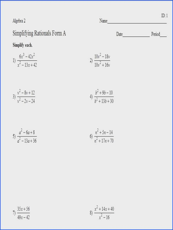 Simplifying Rational Expressions Worksheet  Mychaume