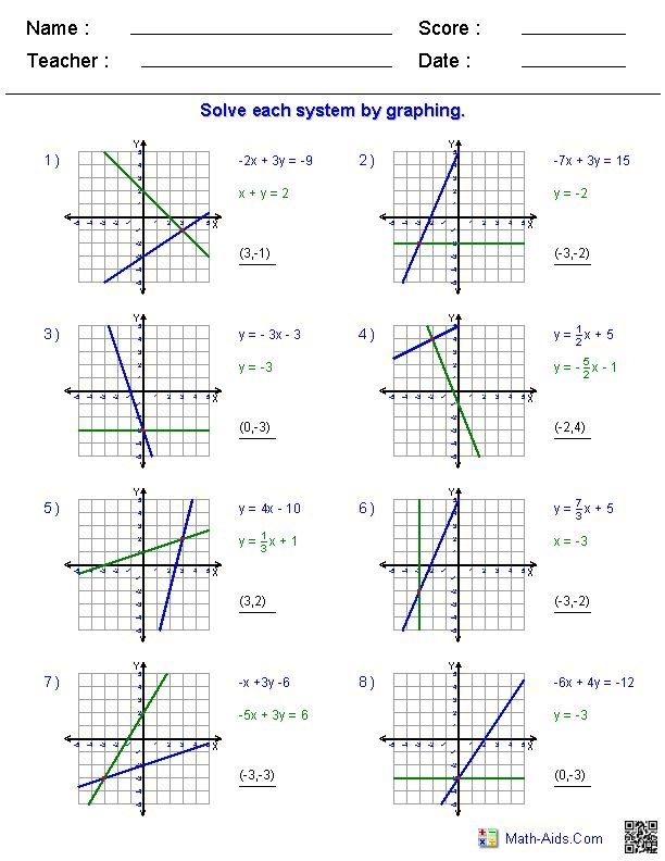 Solve Each Systemgraphing Worksheet Answer Key  Riz Books