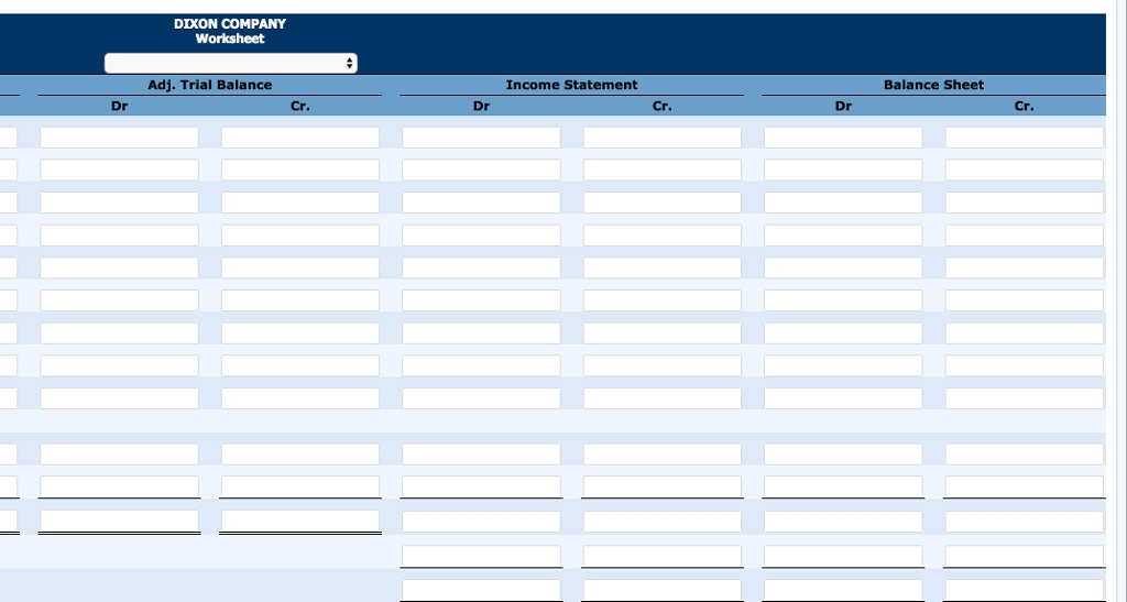 Solved The Trial Balance Columns Of The Worksheet For Dix