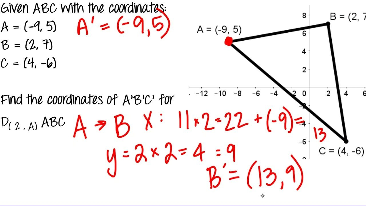 Solving For Coordinates Of An Image After Dilation Honors