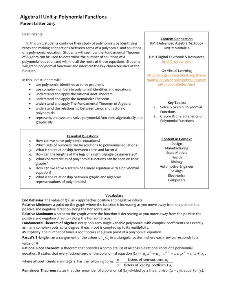 Solving Polynomial Equations Worksheet Answer Key