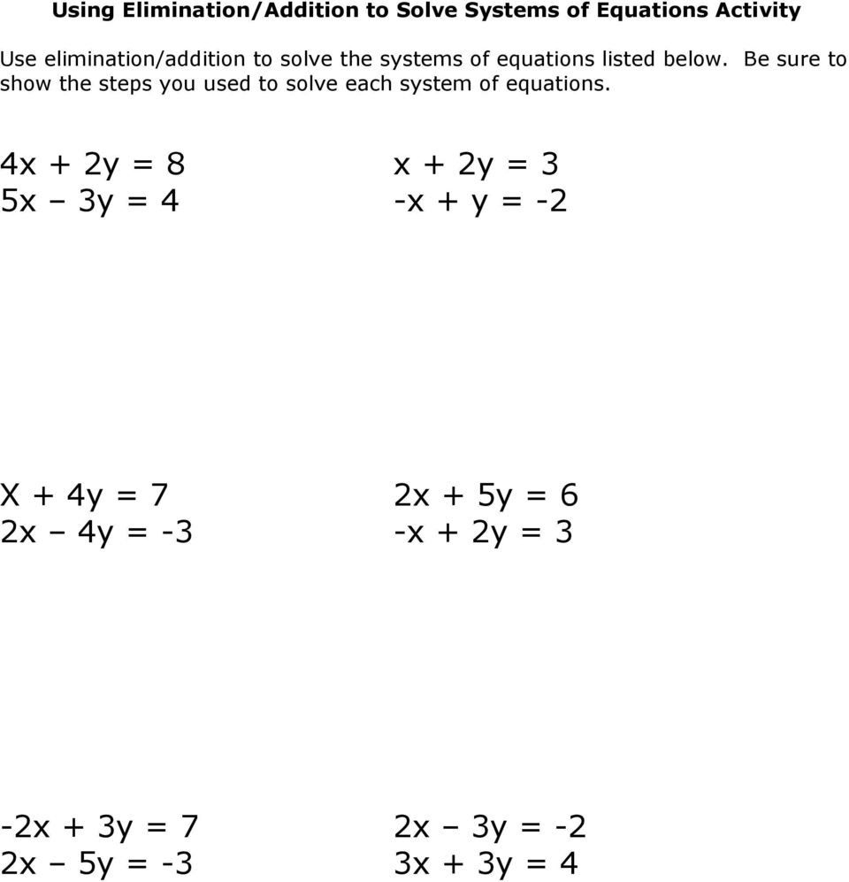 Solving Systems Of Equationselimination Worksheet