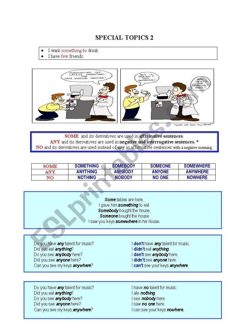 Some Any And Its Derivatives  Esl Worksheetluvitall