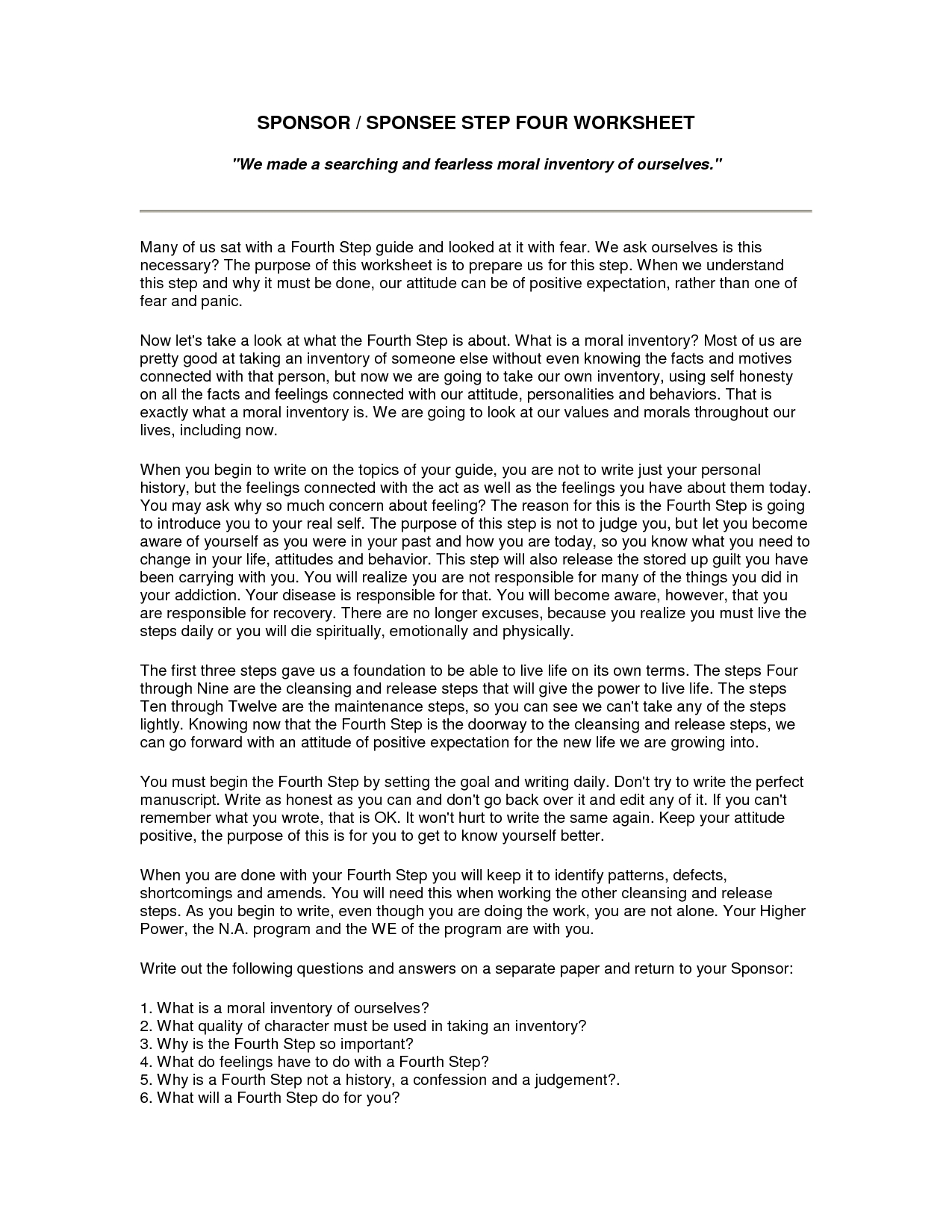 Step One Alcoholics Anonymous Worksheet  Free