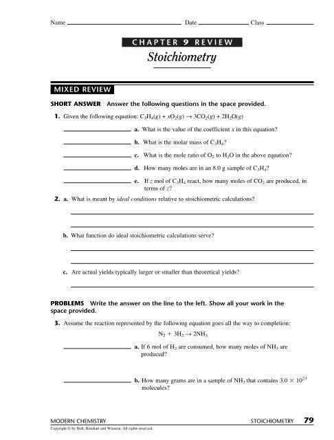 Stoichiometry Mixed Practice Worksheet Answers