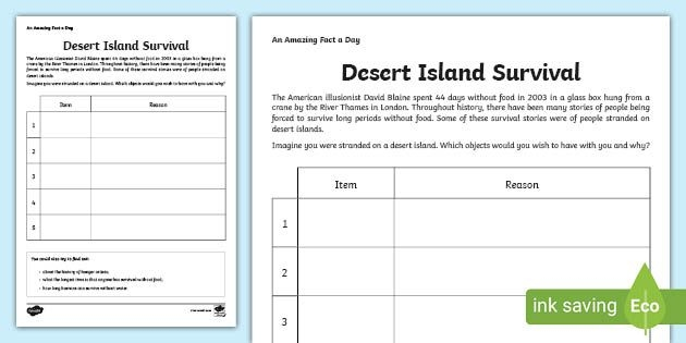Stranded On An Island Activity Worksheet  Teaching Resource