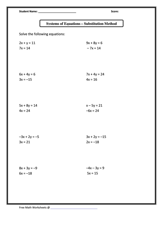 Substitution Method Worksheet Answers  Escolagersonalvesgui