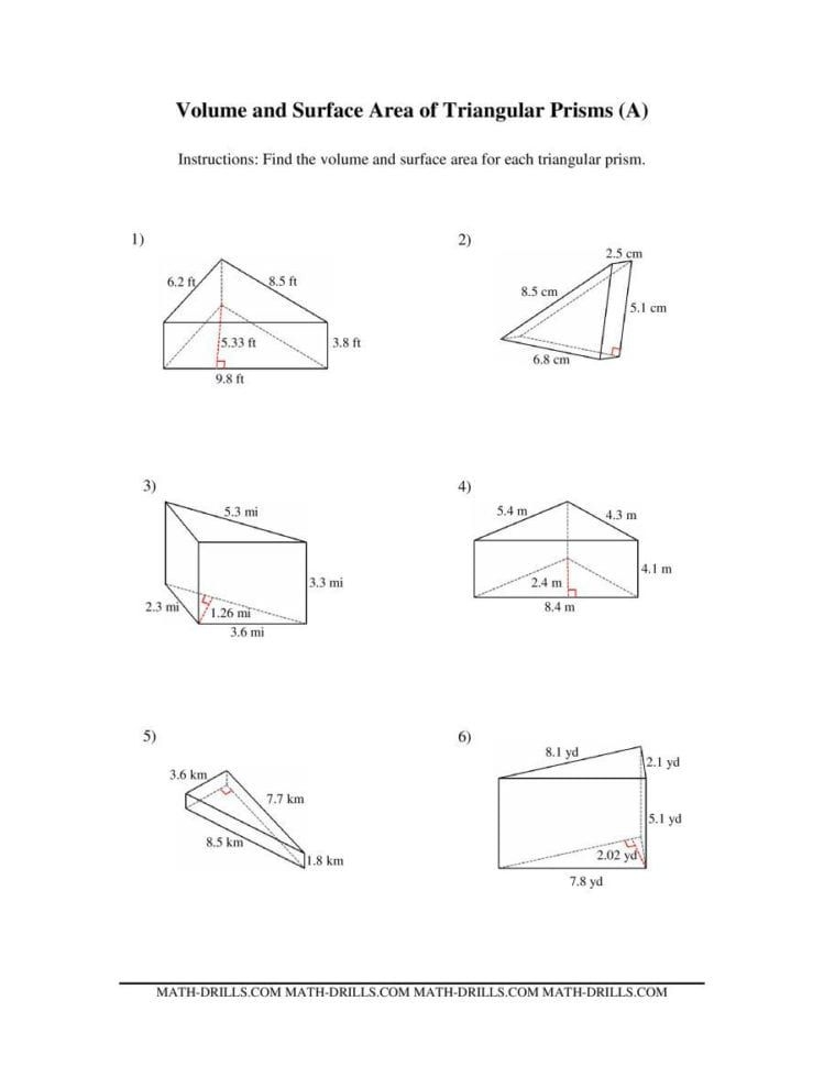 Surface Area Of Prisms And Cylinders Worksheet — Dbexcel