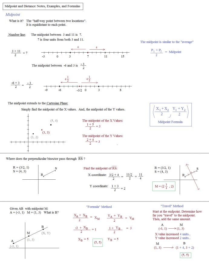 The Midpoint Formula Worksheet With Work  Distance