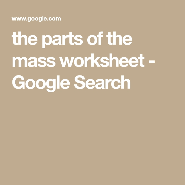 The Parts Of The Mass Worksheet  Google Search With