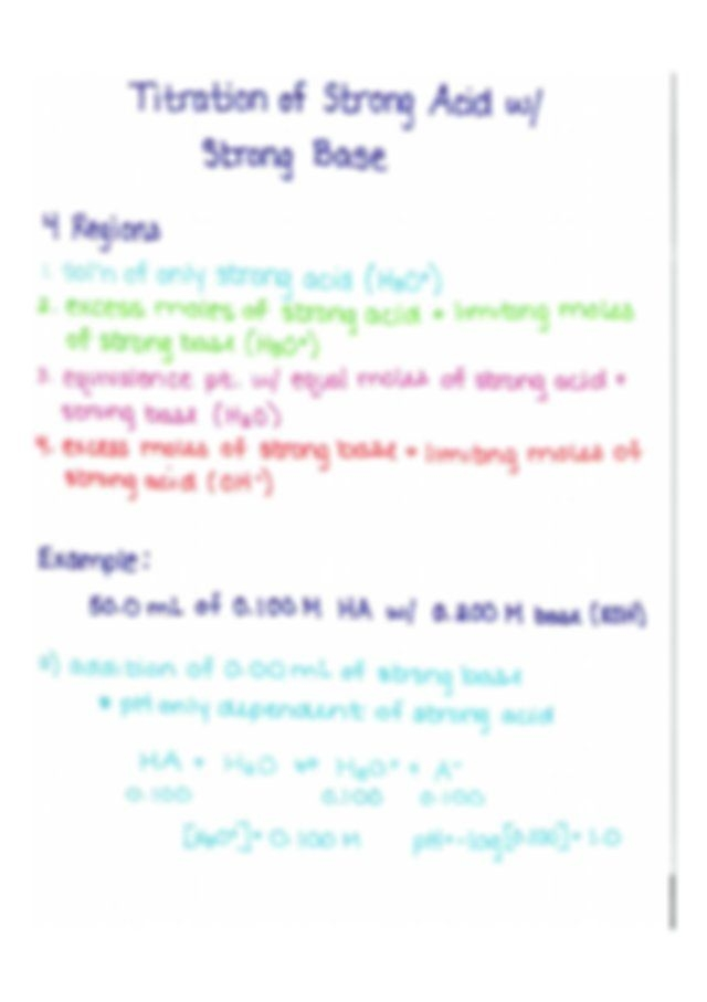 Titration Worksheet  Titration Of Strong Acid On Strong