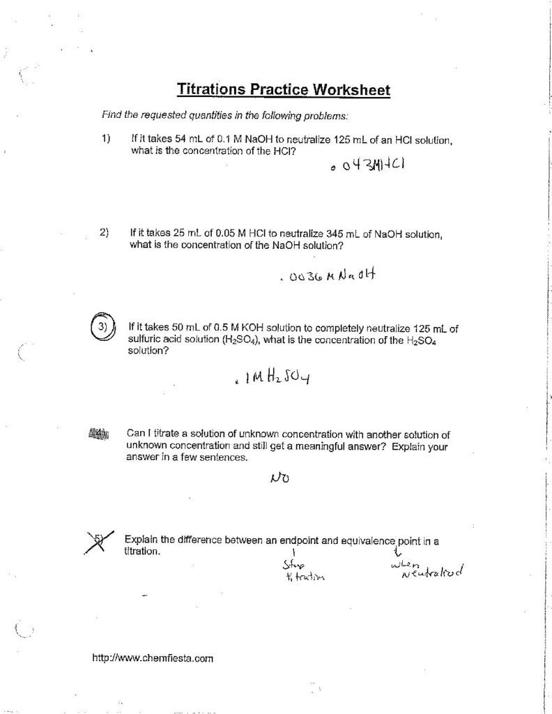 Topictitrations Worksheet Answerscglass  St Mary'S