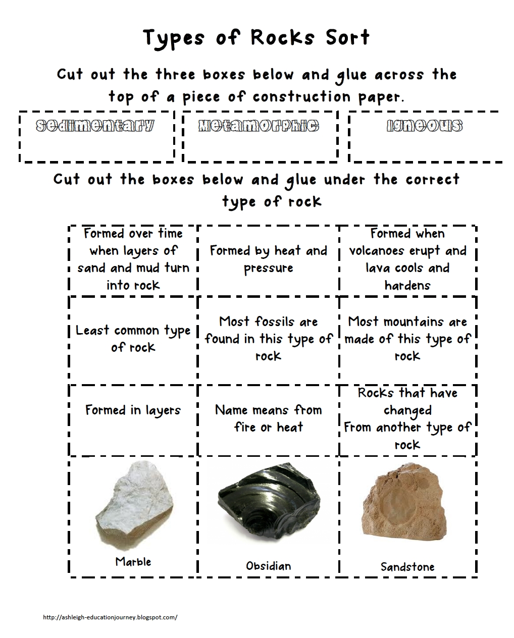 Types Of Rock Sort  Earth Science Th Grade Science