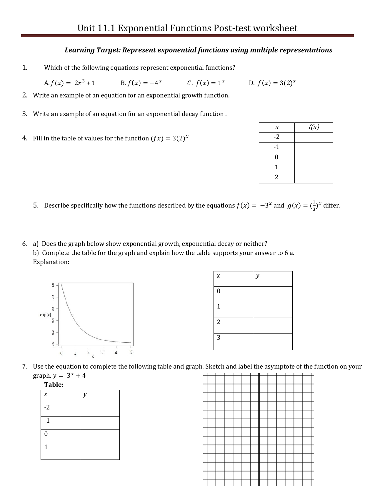 Unit   Post Test Worksheet Exponential Functions