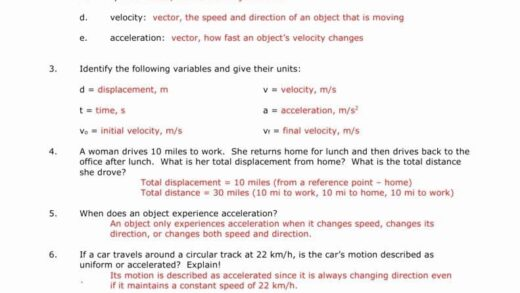 Velocity And Acceleration Worksheet In