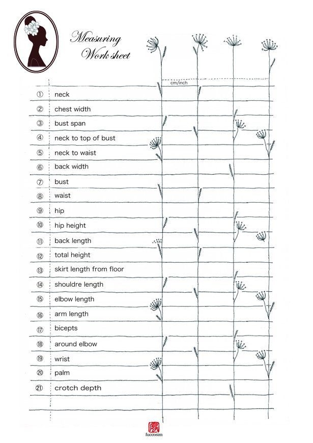 Where To Measure  Working Sheet  Sewing Techniques