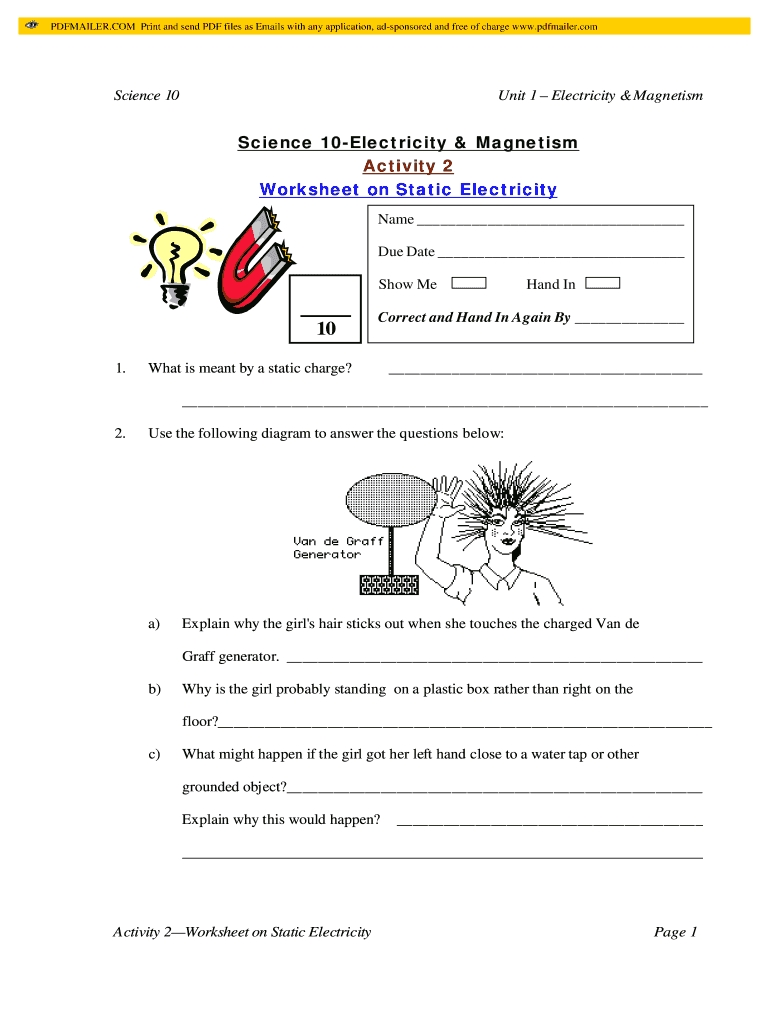 Worksheet On Static Electricity  Fill And Sign Printable