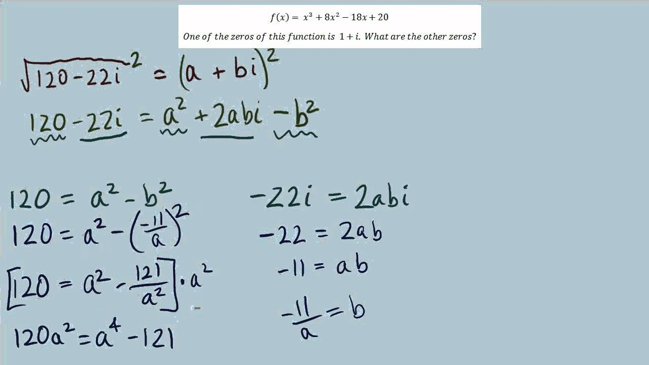 Writing Polynomial Functions From Complex Roots Worksheet